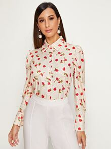Ditsy Floral Print Puff Sleeve Blouse
