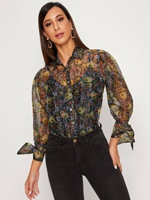Knotted Cuff Ditsy Floral Sheer Organza Blouse