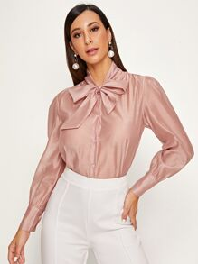 Tie Neck Puff Sleeve Button Through Blouse