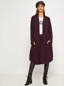 Shawl Collar Dual Pocket Longline Cardigan
