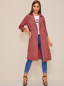 Lapel Belted Roll Up Sleeve Trench Coat