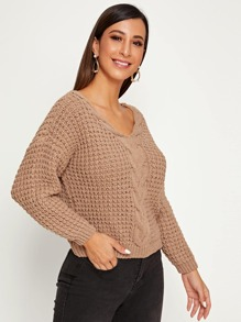 Solid Chunky Cable Knit Jumper