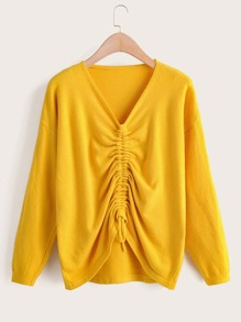 Solid V-Neck Ruched Drawstring Sweater