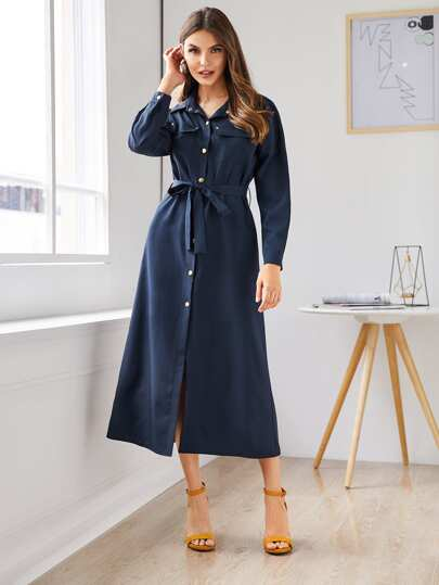 Button Front Flap Pocket Belted Shirt Dress