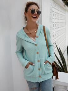 Button Through Double Pocket Hooded Cardigan