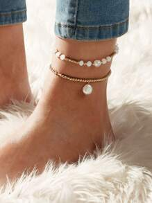 Faux Pearl Beaded Anklet 2pcs