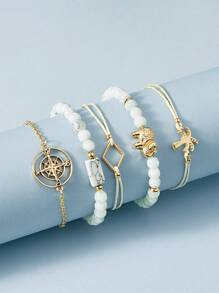Compass & Coconut Tree Decor Bracelet 5pcs