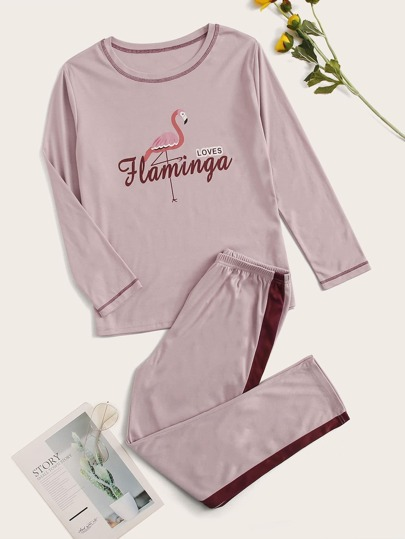 Flamingo & Letter Graphic Pajama Set
