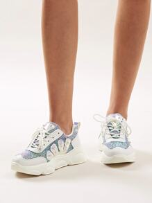 Lace-up Front Chunky Sole Glitter Sneakers