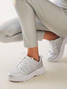 Metallic Lace-up Front Chunky Sneakers