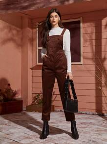 Pocket Side Corduroy Pinafore Jumpsuit