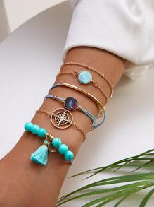 Tassel & Compass Decor Chain Bracelet 6pcs