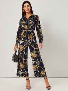 Chain Print Self Tie Shirt Jumpsuit