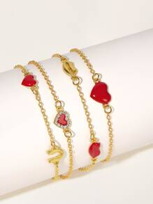 Rhinestone Engraved Heart & Mouth Decor Chain Bracelet 4pcs
