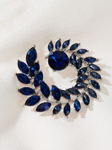 Gemstone Leaf Design Brooch 1pc