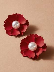 Faux Pearl Decor Flower Stud Earrings 1pair