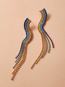Colorful Rhinestone Tassel Drop Earrings 1pair