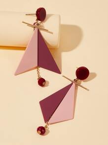 Two Tone Triangle Drop Earrings 1pair