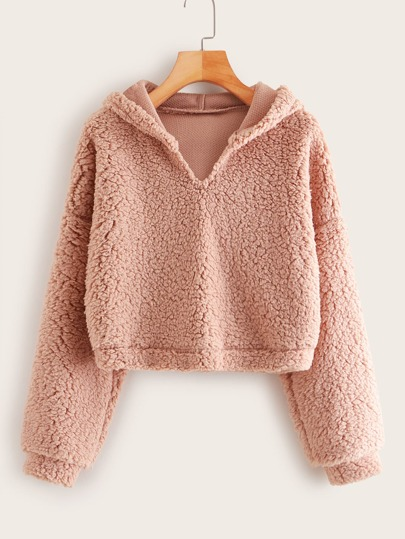 Long Sleeve Hooded Teddy Sweatshirt