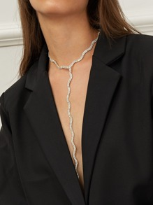 Rhinestone Design Lariat Necklace 1pc