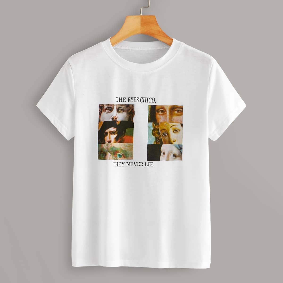 Wit Casual Tekst T-shirts