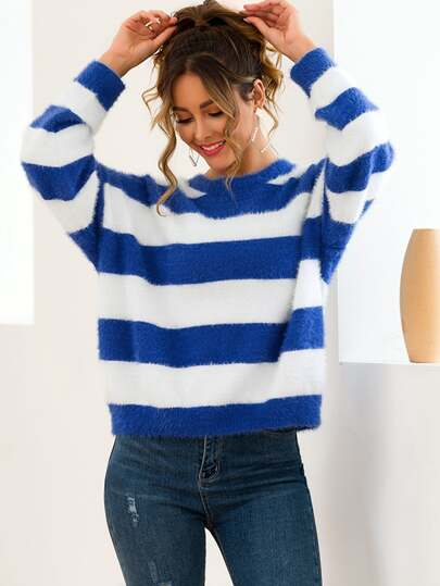 Mohair Contrast Striped Drop Shoulder Fuzzy Sweater