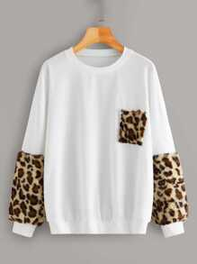 Contrast Faux Fur Leopard Panel Drop Shoulder Sweatshirt