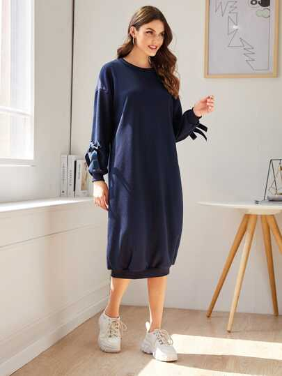 Tape Tie Drop Shoulder Sweatshirt Dress