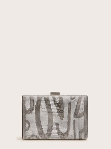 Rhinestone & Faux Pearl Engraved Clutch Bag