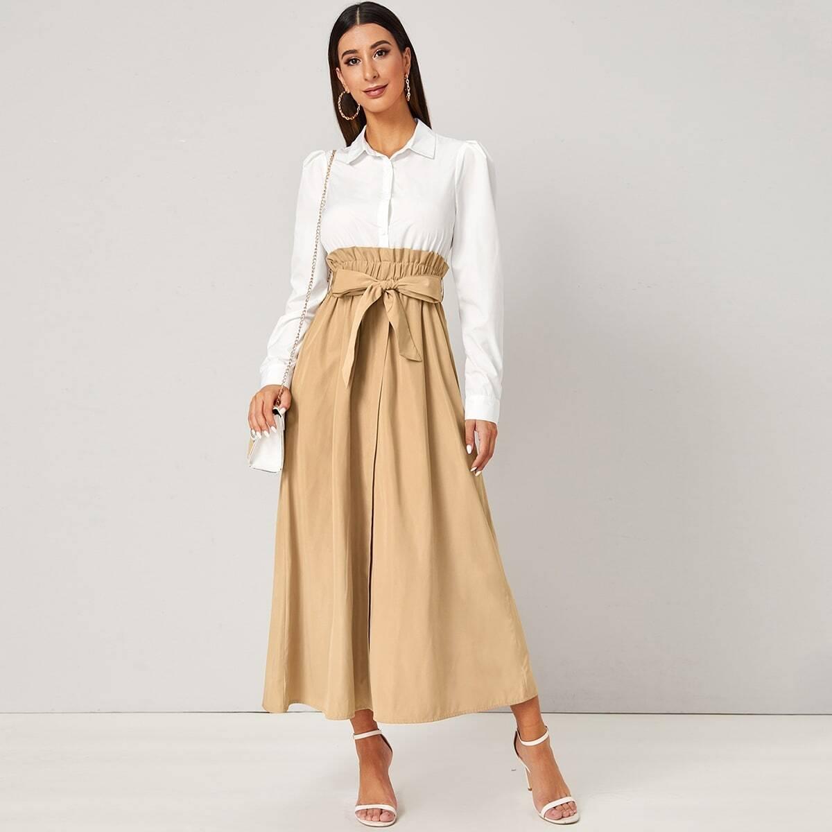 Контрастное платье с эластичной талией и поясом
