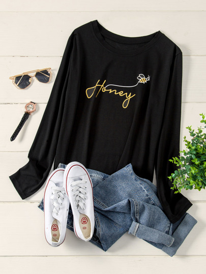 Plus Letter Print Long Sleeve Tee