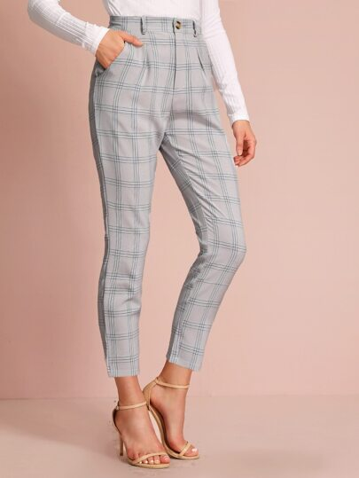 Plaid Tailored Pants Without Belted