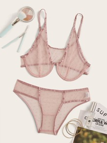 Polka Dot Sheer Mesh Underwire Lingerie Set