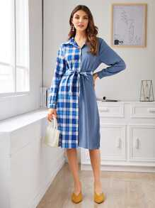 Contrast Plaid Belted Shirt Dress