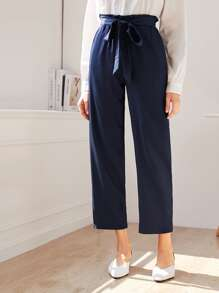 Solid Paper Bag Waist Belted Pants