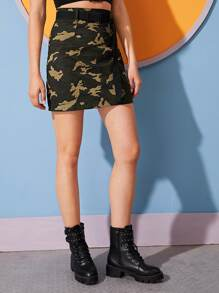 Camo Print Belted Straight Skirt
