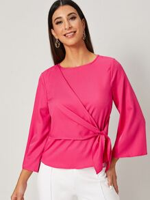 Neon Pink Self Tie Keyhole Back Blouse