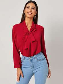 Solid Tie Neck Long Sleeve Blouse