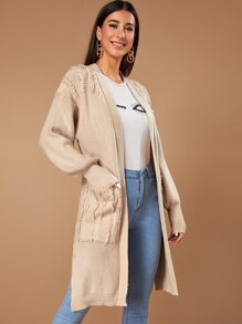 Bishop Sleeve Side Split Longline Cardigan