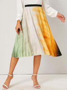 Tie Dye Pleated Elastic Waist Skirt