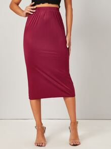 Solid Elastic Waist Sheath Skirt