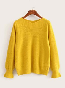Solid Flounce Sleeve Round Neck Jumper