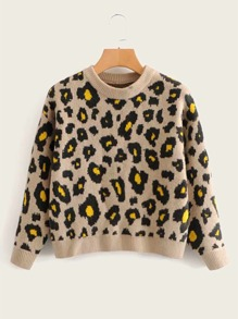 Leopard Print Round Neck Sweater