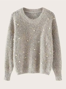 Pearl Beaded Fluffy Mohair Sweater