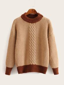 Cable Knit Contrast Trim Sweater