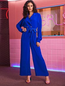 Lapel Neck Self Tie Wide Leg Jumpsuit