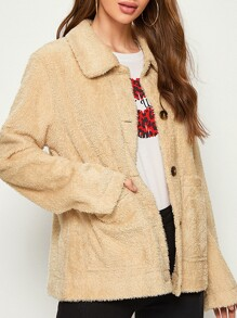Button Front Dual Pocket Teddy Coat