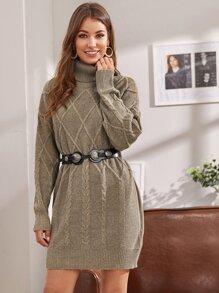 fashion,Turtleneck Geo & Cable Knit Sweater Dress Without Belt