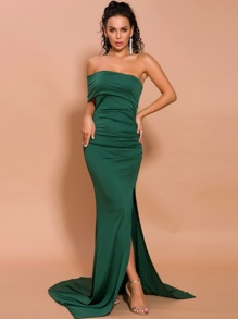 Missord Split Thigh One Shoulder Floor Length Prom Dress