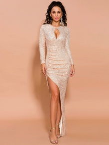 Missord Cut-out Front Asymmetrical Hem Sequin Dress